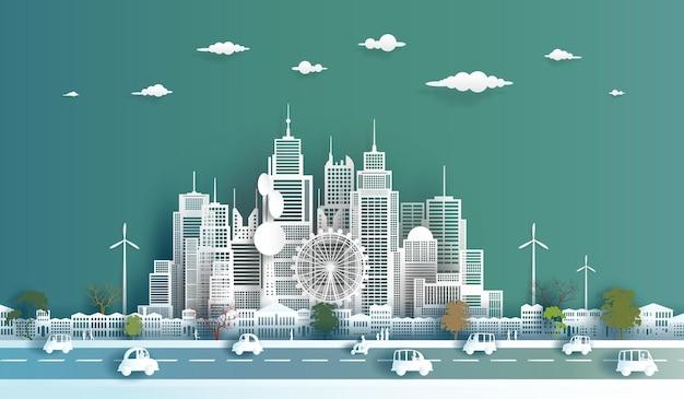 ダウンタウンの超高層ビルの背景にきれいな現代経済都市エコ街並みの建物の未来
