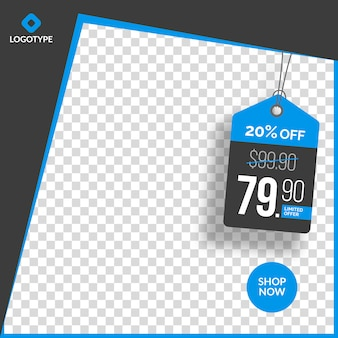 Modern editable instagram sale banner with empty abstract background