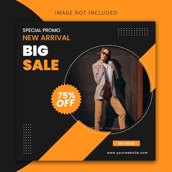 Modern editable social media post template and website banner for fashion big sale
