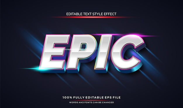 Modern editable text style effect with shiny bright color vector editable font