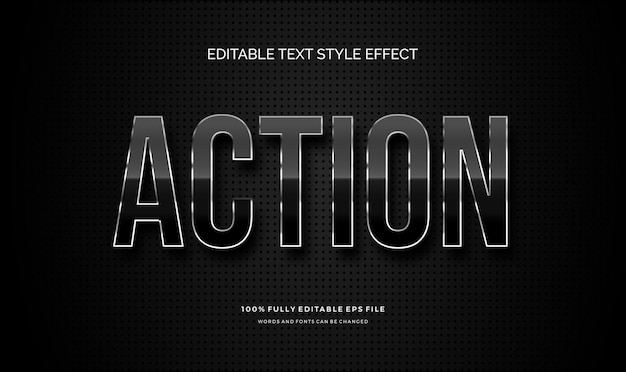Modern editable text style effect with shiny metal dark color vector editable font
