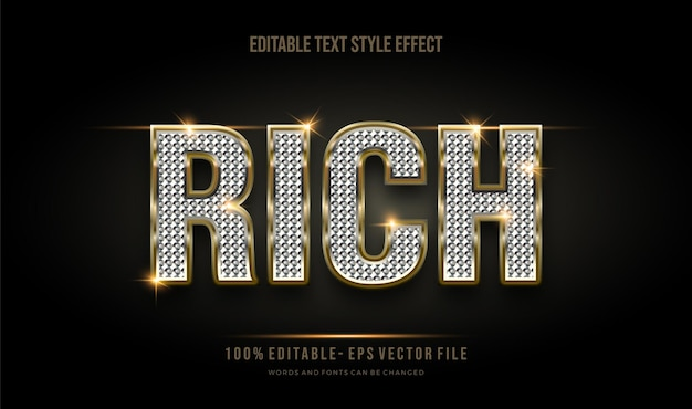 Modern editable text style gold effect and shiny glitter  . editable font style.