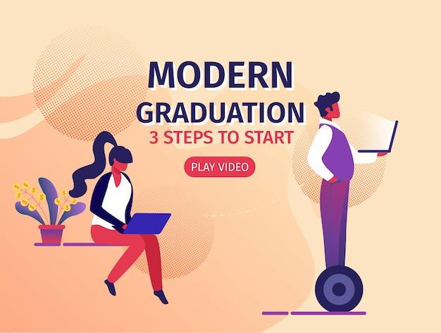 Modern education 3 steps to start horizontal banner