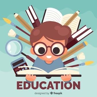 평면 디자인으로 현대 교육 개념