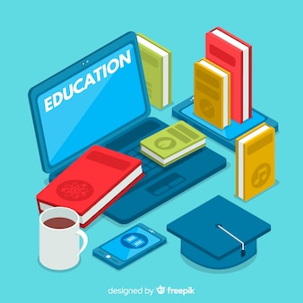 Modern education concept with isometric view