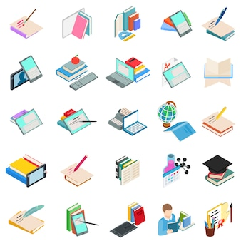 Modern education icon set