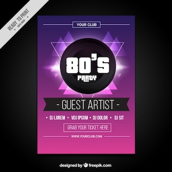 Modern eighties party brochure
