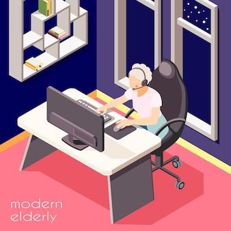 Donna anziana illustrata isometrica degli anziani moderni con la cuffia avricolare che lavora all'illustrazione del computer portatile