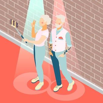 Illustrazione isometrica di persone anziane moderne con coppia di anziani che prendono selfie
