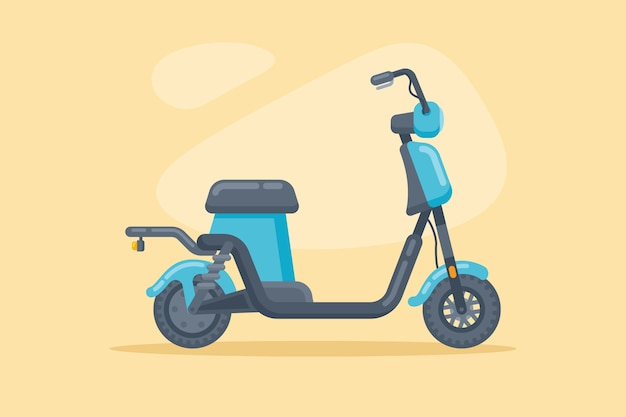 Современный электрический велосипед или скутер в плоском стиле