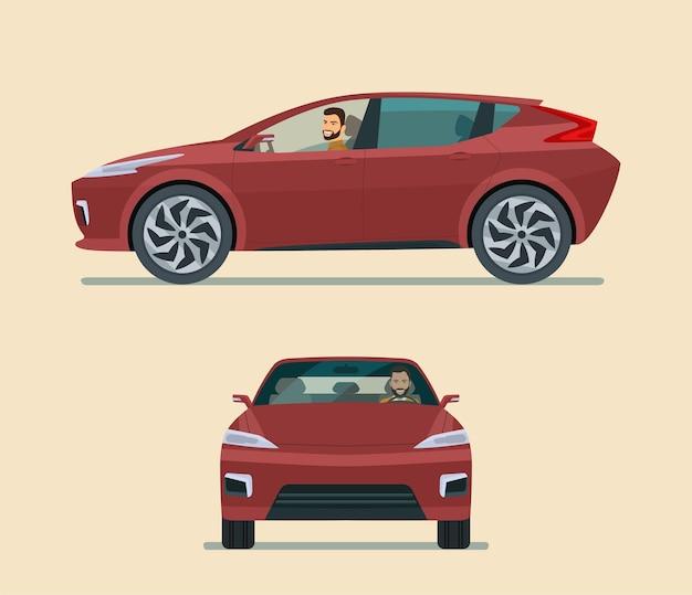 現代の電気自動車の角度セットフラットスタイルのイラスト