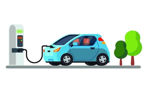 현대 전기 자동차 충전.