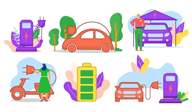 Современные электромобили, транспортные технологии, крошечные люди, персонаж, зарядка, личная автомобильная линия, квартира ...