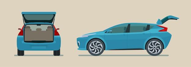 分離されたオープントランク、側面図と背面図のフラットスタイルの図と現代の電気自動車
