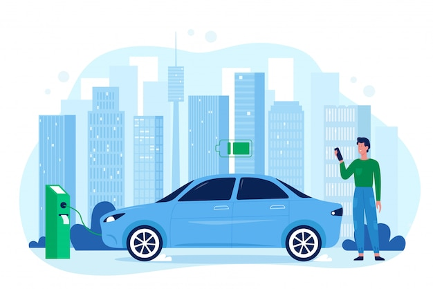 Modern electric eco auto car illustration. cartoon flat happy man driver character standing in charger station, charging vehicle automobile battery, save ecology technology isolated