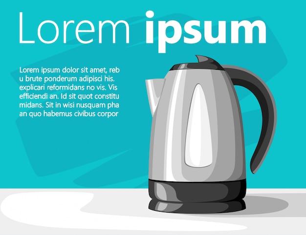 Современный электрический чайник на сером столе из черного пластика и нержавеющей стали с местом для текстовой иллюстрации на бирюзовом фоне