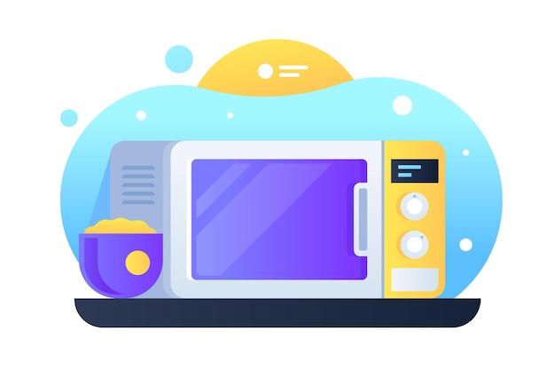 Современная электрическая микроволновая иллюстрация. кухонное оборудование для разогрева еды и продуктов в плоском стиле. блюдо в синем горшке. концепция бытовой техники. изолированные