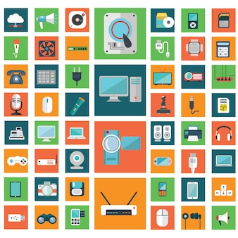Modern electronic devices icons collection