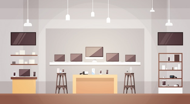 Modern electronics store shop interior banner with copy space