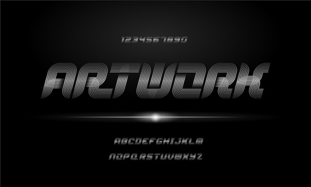 Modern elegant alphabet font. typography urban style fonts for technology, digital, movie