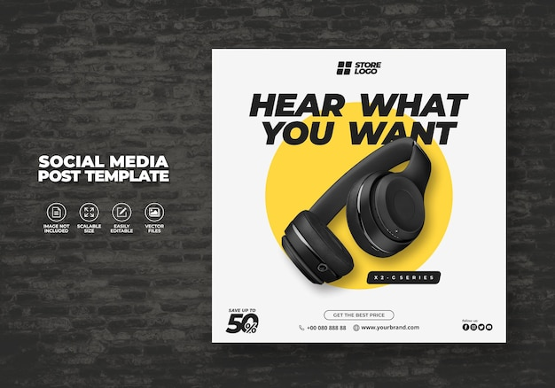 Modern and elegant black color wireless headphone brand product for social media template banner