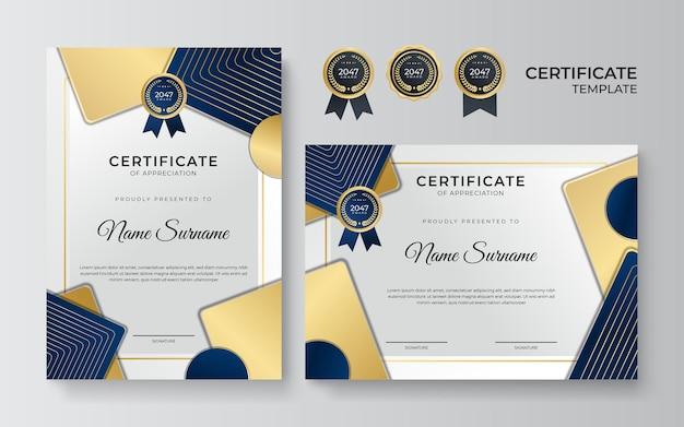 Современный элегантный синий и золотой шаблон сертификата диплома. чистый современный сертификат с золотым значком. шаблон границы сертификата с роскошным и современным рисунком линии. векторный шаблон диплома