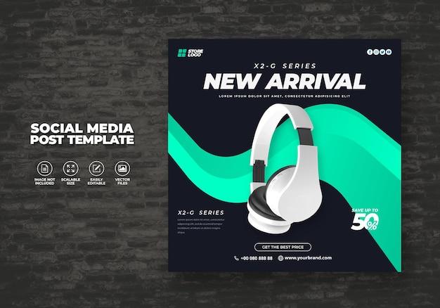 Modern and elegant blue color wireless headphone for social media template banner vector