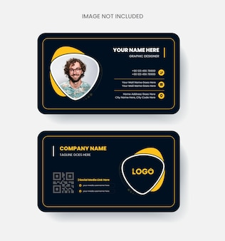 Modern and elegant business card design colorful abstract concept in black and yellow color clean