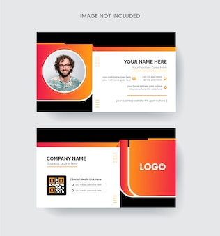 Modern and elegant business card design colorful abstract shape concept in orange color