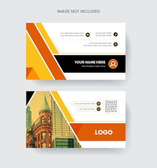 Modern and elegant business card design colorful abstract shapeable concept in orange color