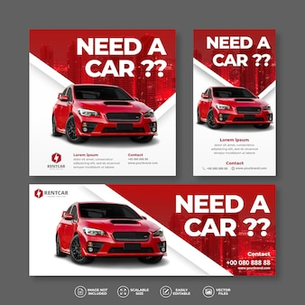 Modern and elegant car rent and sell red banner bundle set