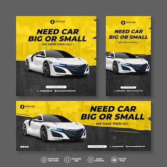 Modern and elegant car rent and sell yellow banner bundle set