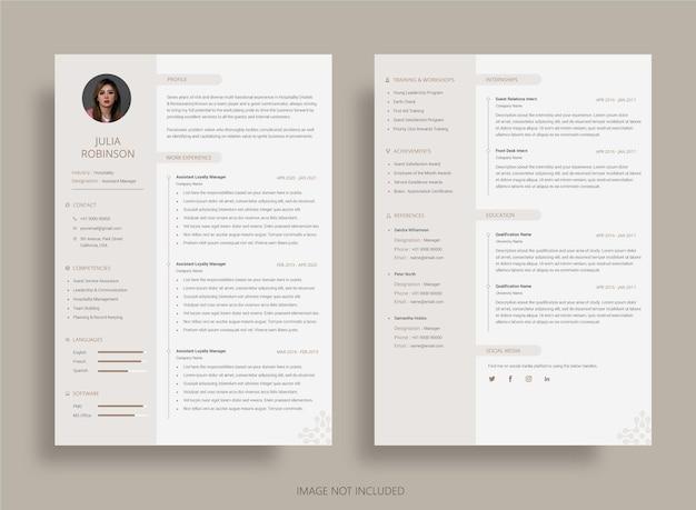 Modern and elegant curriculum vitae resume template
