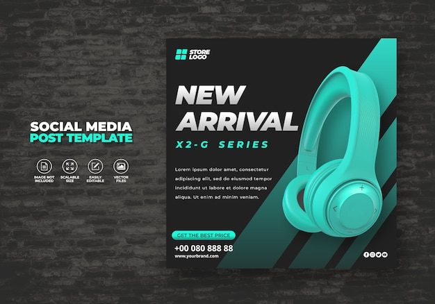Modern and elegant cyan color wireless headphone brand product for social media template banner