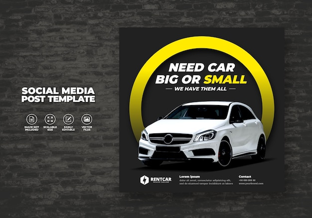 Modern elegant exclusive rent and buy car for social media post banner vector template