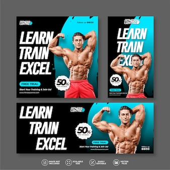 Modern and elegant fitness or gym exercise banner bundle set for social media post and instagram story template