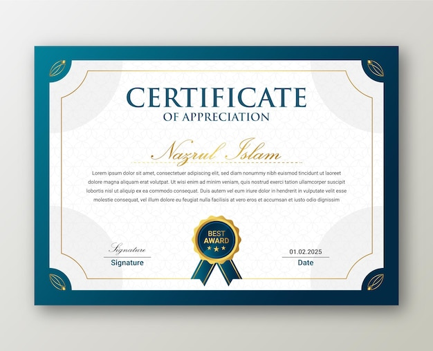 Modern elegant gold certificate template with badge  .