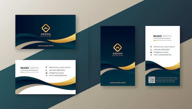 Modern elegant golden wave business card