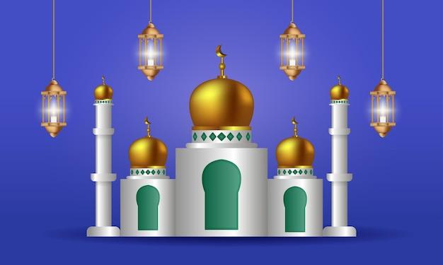 현대 우아한 이슬람 모스크 이슬람 배경 건물