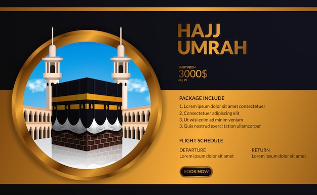 Modern elegant luxury hajj and umrah tour travel advertising template with kaaba realistic illustration with blue sky with circle golden frame.