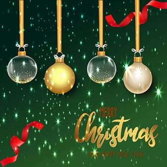 Modern elegant merry christmas background with golden balls