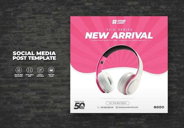 Modern and elegant pink color headphone brand product for social media template banner