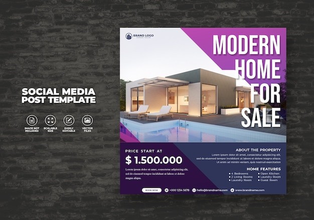Modern and elegant real estate home for sale social media banner post & square flyer template