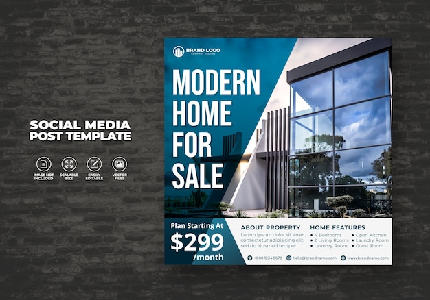 Modern and elegant real estate home sale for social media banner post & template square flyer
