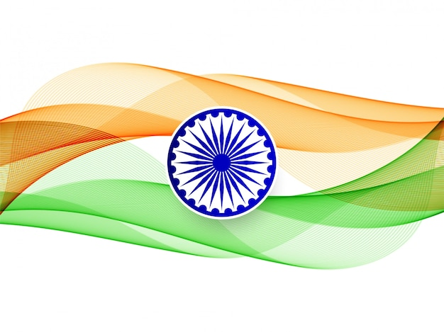 Modern elegant wavy indian flag background