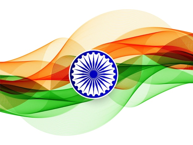 Modern elegant wavy indian flag