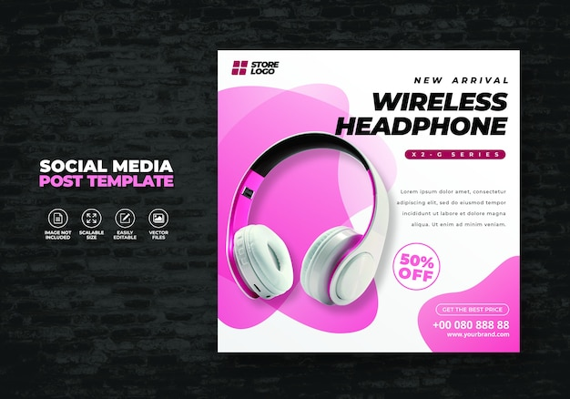 Modern and elegant whhite pink color headphone brand product for social media template banner