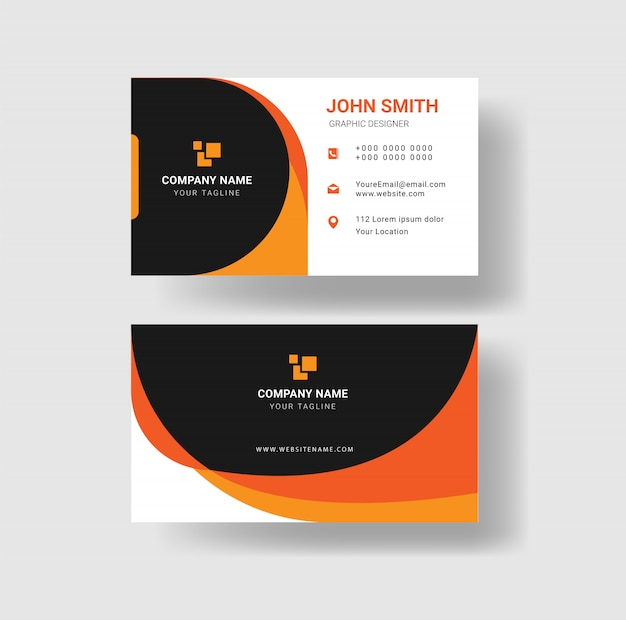 Modern elegant yellow business card template