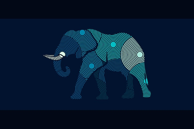 현대 코끼리 벡터 디자인