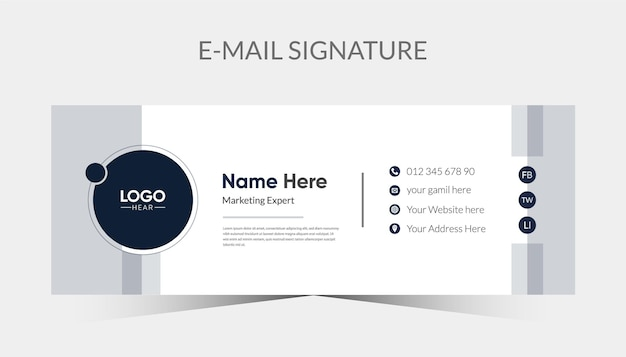 Modern email signature template design and personal email footer.